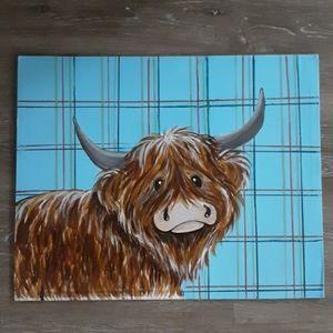 Scottish highland cow painting